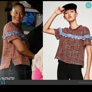 Zara Woven Tweed Short Sleeve Ruffle Stripe Keyhol